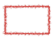 Red Christmas Tinsel Frame, Isolated On White. Rectangle.