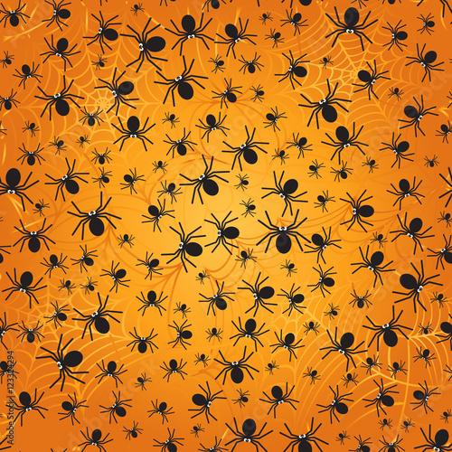 Materiał do szycia Pająki jednolity wzór. Sylwetka czarne pająki. Halloween tła. Ilustracja wektorowa