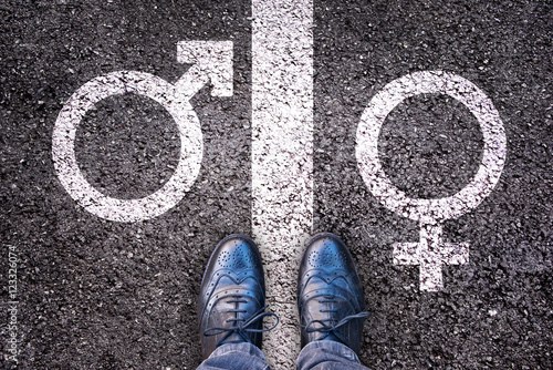 Legs with gender symbol on asphalt, gender concept Wallpaper Mural