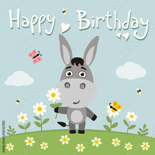 Happy Birthday Cute Donkey With Flower Camomile On Flower Meadow