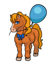 Vector Beautiful Cartoon Shetland Pony With Balloon Isolated On White, Cute Horse, Children Greeting Card