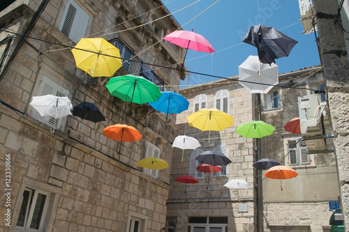 Valokuva  Rainbow Umbrella on Korcula,Croatia