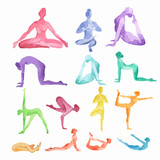 Watercolor yoga set on white background. Yoga poses, asana. Healthy lifestyle and relaxation.