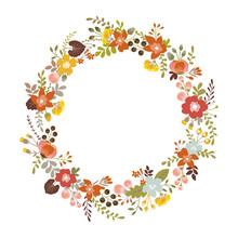 Floral Wreath With Autumn Ornament. Isolated On White