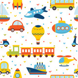 Seamless pattern with colorful transport. Cute children backgrou