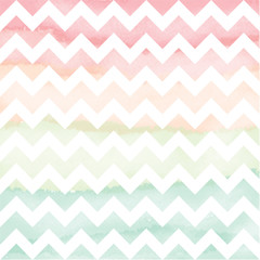 Vector Watercolor Chevron Background. Hand Painted Chevron seamless pattern. Zigzag colorful background.