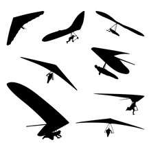 Extreme Hang Gliding Glider Flying Silhouette Set