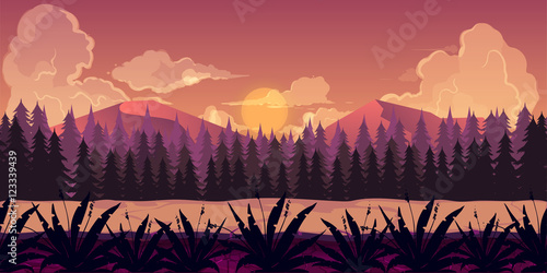 Background for games apps or mobile development. Cartoon nature landscape with forest. Vector illustration design graphics print book . Stock .
