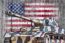 Military Tank With Concrete United States Flag