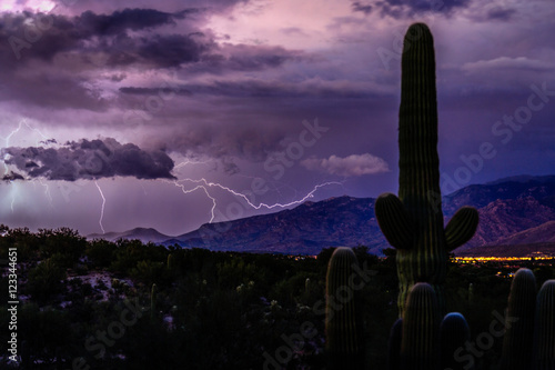 Printed kitchen splashbacks Eggplant Lightning Follows a Sunset Monsoon Storm in the Foothills of the Santa Catalina Mountains, Tucson, Arizona.