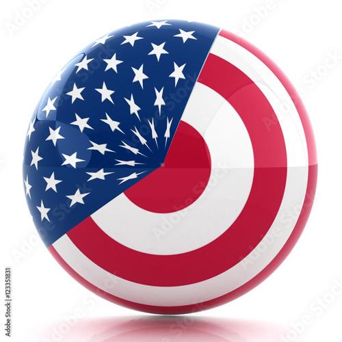 Fotografia, Obraz  sphere instead letter O textured by USA flag. 3d render