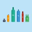 Color gas bottles vector illustration