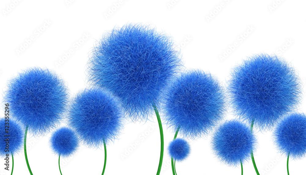 Niebieskie kwiaty na białym tle