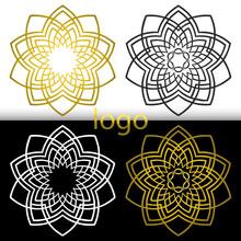 Vector Graphic Geometric Golden,white, Black Flower Symbol For Y