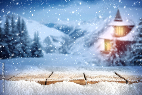 Foto-Doppelrollo - winter background of free space  (von magdal3na)
