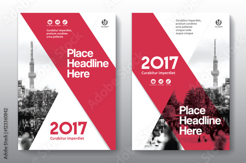 Fotografía  Red Color Scheme with City Background Business Book Cover Design Template in A4
