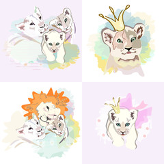 Abstract watercolor illustration of a happy Lion family (mother, father, baby), isolated on white background