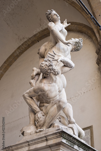 Photo  The Rape of the Sabine Women by Giambologna, in the Loggia dei Lanzi in Florence, Italy