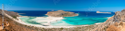 City on the water Panoramic view of Balos lagoon and Gramvousa beach, western Crete, Greece
