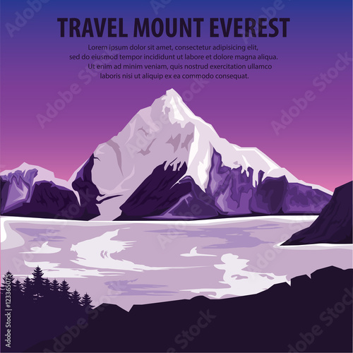 Fotobehang Snoeien illustration vector. Travel the world . Travel around mountains Everest and beautiful landscape . Travel and Famous Landmarks. highest mountains Everest.