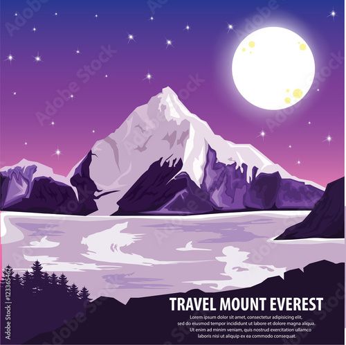 Foto op Aluminium Snoeien illustration vector. Travel around highest mountains Everest and beautiful landscape