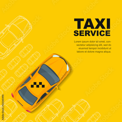 Taxi service concept. Vector yellow banner, poster or flyer ...