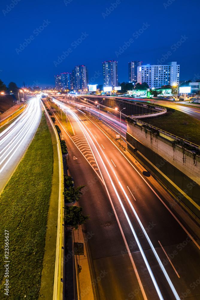 Fototapety, obrazy: Nocny widok na Katowice, Śląsk