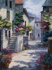 Plakat Art Oil Painting Picture Flower Street