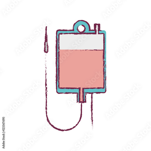 Photo  blur blood donation bag and colorfull vector illustration