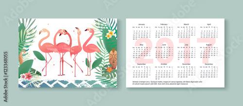 Photo sur Plexiglas Tropical pocket calendar 2017 with flamingos,