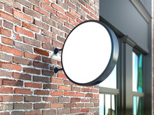 Hanging Wall Sign Mockup, Round Billboard On The Brick Wall, Stock Image, 3d Rendering