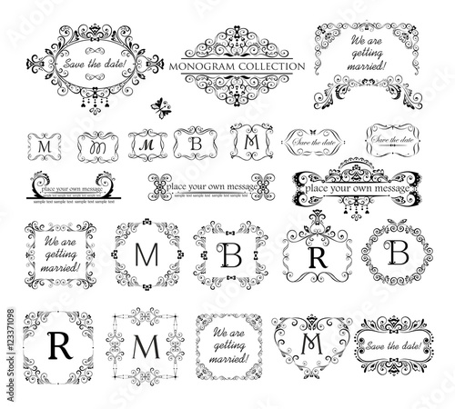 Set Of Vintage Labels Headers And Frames For Wedding Invitation Greeting Card Logo