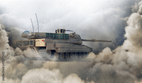Plakat Ciężki czołg wojskowy na pustyni. Renderowanie 3D. (Skup się na czołgu)
