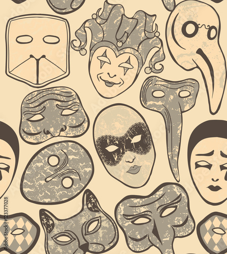 Cotton fabric vector background with Venetian carnival masks