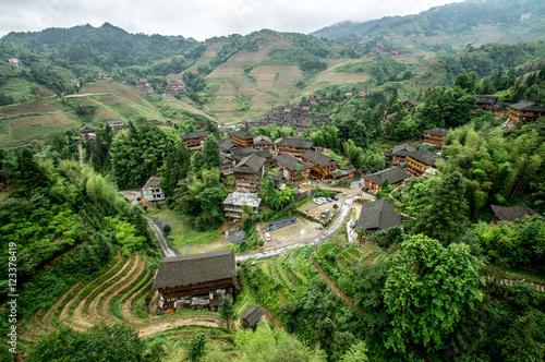 Lonjii rice terraces, Dazhai village, Aerial view, Guilin, China