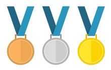 Medal Vector Set. Gold Medal, Silver Medal, Bronze Medal. Medal
