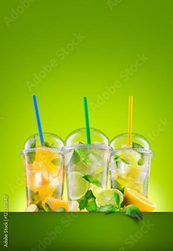 Fototapeta Three types of fresh lemonade obraz