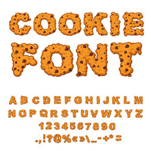 Cookies Font. Biscuits With Ch...