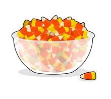 Bowl And Candy Corn. Sweets On Plate. Traditional Treats For Hal