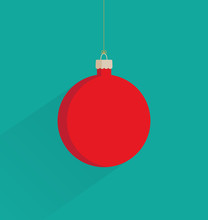 Vector Illustration Of A Red Christmas Bauble On A Green Background