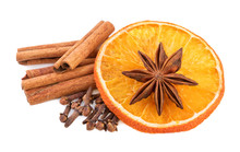 Christmas Spices Decoration. Cinnamon Sticks  Cloves And Orange Slices On White.