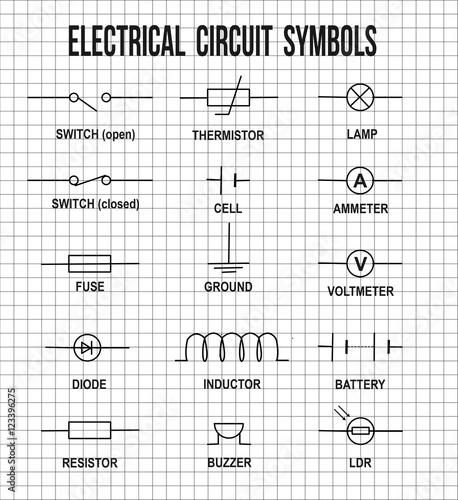 Electrical circuit symbols – kaufen Sie diese Vrgrafik ... on