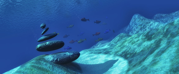 Fototapeta na wymiar 3d illustration seabed with a stones