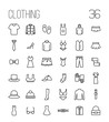 Set of clothing icons in modern thin line style.
