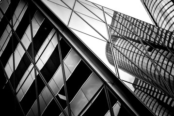 Fototapeta windows of business building in Hong Kong with B&W color