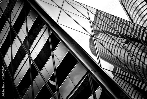 Leinwand Poster windows of business building in Hong Kong with B&W color