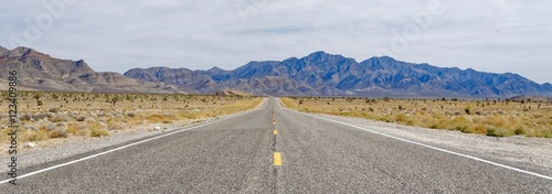 Aluminium Prints Route 66 Desert Highway near Area 51 in Nevada, USA
