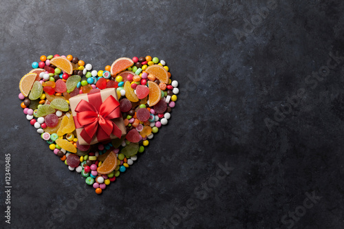 Poster Confiserie Colorful candies, jelly and marmalade heart