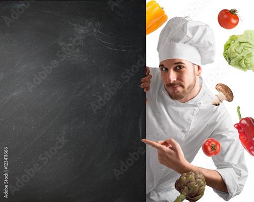 Fotografie, Obraz  Chef with blackboard