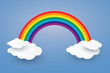Cloud and Rainbow in blue sky Paper art Style.vector Illusatra